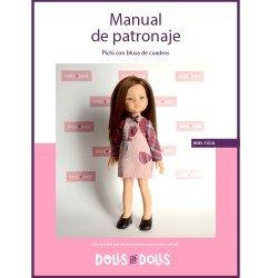 Patrón descargable Dolls And Dolls para muñecas Las Amigas - Pichi con blusa de cuadros