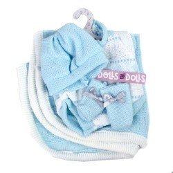 Ropa para Muñecas Llorens 26 cm - Pelele azul estampado con peúcos, gorro y toquilla