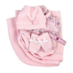Ropa para Muñecas Llorens 26 cm - Pelele rosa estampado con peúcos, gorro y toquilla
