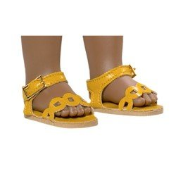 Complementos para muñecas Vestida de Azul 33 cm - Paulina - Sandalias amarillo mostaza