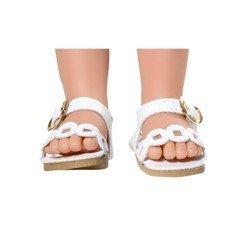 Complementos para muñecas Vestida de Azul 33 cm - Paulina - Sandalias blancas