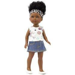 Muñeca Vestida de Azul 28 cm - Los Amigos de Carlota - Brandy con falda de jeans y camiseta con estampado de insectos