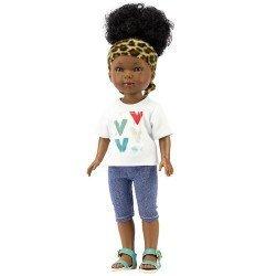 Muñeca Vestida de Azul 28 cm - Los Amigos de Carlota - Brandy con jeans pirata, camiseta de cuello v y turbante