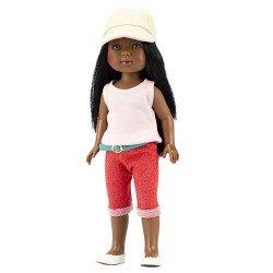 Muñeca Vestida de Azul 28 cm - Los Amigos de Carlota - Brandy con jeans rojos, camiseta y gorrita