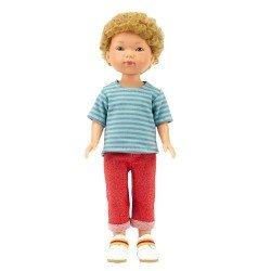 Muñeco Vestida de Azul 28 cm - Los amigos de Carlota - Hugo con jeans rojos y camiseta a rayas