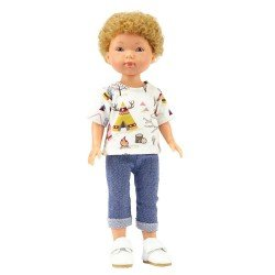Muñeco Vestida de Azul 28 cm - Los amigos de Carlota - Hugo con jeans y camiseta con estampado de campamento indio