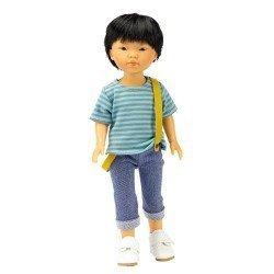 Muñeco Vestida de Azul 28 cm - Los Amigos de Carlota - Kenzo con jeans, camiseta de rayas y tirantes