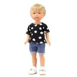 Muñeco Vestida de Azul 28 cm - Los Amigos de Carlota - Nylo con jeans y camiseta negra con estampado blanco