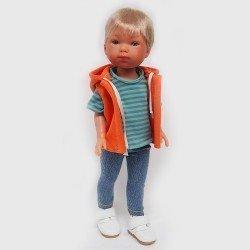 Muñeco Vestida de Azul 28 cm - Los Amigos de Carlota - Nylo jeans con camiseta a rayas y chaleco naranja