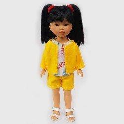 Muñeca Vestida de Azul 28 cm - Los Amigos de Carlota - Umi con conjunto amarillo y camiseta estampada