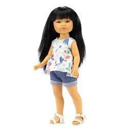 Muñeca Vestida de Azul 28 cm - Los Amigos de Carlota - Umi con jeans cortos y blusa estampada