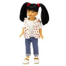 Muñeca Vestida de Azul 28 cm - Los Amigos de Carlota - Umi con jeans y chaqueta de flores