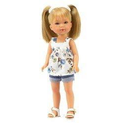 Muñeca Vestida de Azul 28 cm - Carlota con jeans cortos y blusa estampada