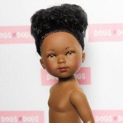 Muñeca Vestida de Azul 28 cm - Carlota negra con moño sin ropa