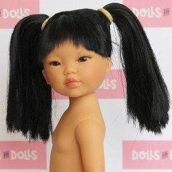 Muñeca Vestida de Azul 28 cm - Los Amigos de Carlota - Umi pelo negro con dos colas sin ropa