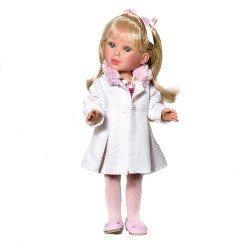 Muñeca Vestida de Azul 33 cm - Paulina rubia con abrigo rosa