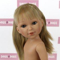 Muñeca Vestida de Azul 33 cm - Paulina rubia con flequillo, pelo liso y coleta sin ropa