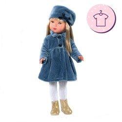 Ropa para muñecas Vestida de Azul 28 cm - Carlota - Abrigo azul con gorro y vestido rosa