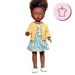 Ropa para muñecas Vestida de Azul 28 cm - Carlota - Vestido de flores con chaqueta amarilla
