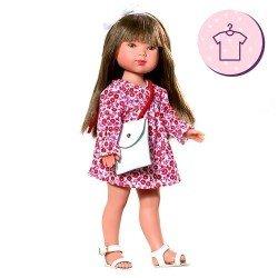 Ropa para muñecas Vestida de Azul 28 cm - Carlota - Vestido de flores