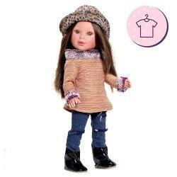 Ropa para muñecas Vestida de Azul 33 cm - Paulina - Conjunto con gorro estampado
