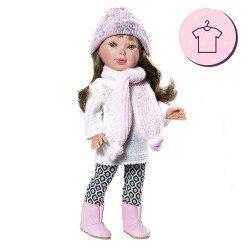 Ropa para muñecas Vestida de Azul 33 cm - Paulina - Conjunto con gorro y bufanda