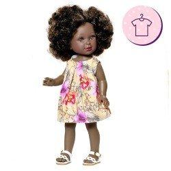 Ropa para muñecas Vestida de Azul 33 cm - Paulina - Vestido estampado de flores