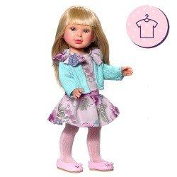Ropa para muñecas Vestida de Azul 33 cm - Paulina - Vestido estampado de flores con abrigo de punto verde