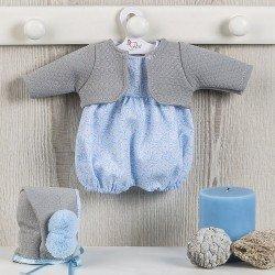 Ropa para Muñecas Así 36 cm - Ranita azul con chaqueta de punto gris para muñeca Koke
