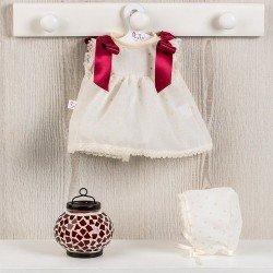 Ropa para Muñecas Así 36 cm - Vestido de plumeti beige con lazos granates y capota para muñeca Sammy
