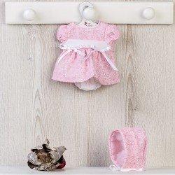 Ropa para Muñecas Así 28 cm - Vestido rosa con flores blancas con capota para muñeca Gordi