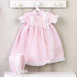 Ropa para Muñecas Así 46 cm - Vestido faldón rosa de punto y piqué para muñeca Leo