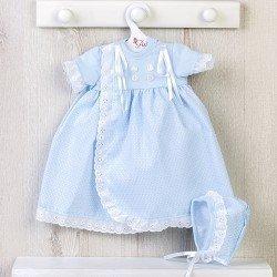 Ropa para Muñecas Así 46 cm - Vestido faldón azul de punto y piqué para muñeca Leo