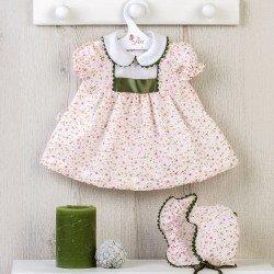 Ropa para Muñecas Así 46 cm - Vestido bambula de flores rosa con picunela verde para muñeca Leo
