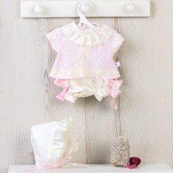 Ropa para Muñecas Así 43 cm - Conjunto bebé de punto rosa con puntillas con capota para muñeca María