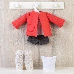 Ropa para Muñecas Así 40 cm - Short, chaqueta naranja, botas y gorro para muñeca Sabrina