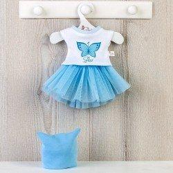 Ropa para Muñecas Así 40 cm - Falda de tul azul, camiseta de mariposa y gorro blanco para muñeca Sabrina