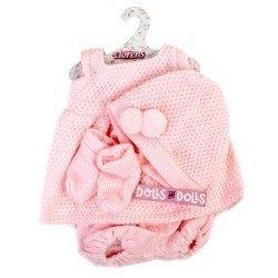 Ropa para Muñecas Llorens 35 cm - Conjunto rosa de vestido, gorro y peúcos