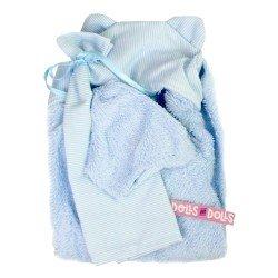 Ropa para Muñecas Llorens 35 cm - Conjunto azul de toalla con capucha, sabanita y pañal