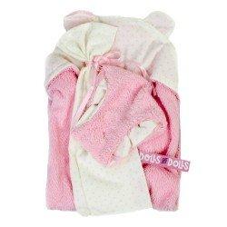 Ropa para Muñecas Llorens 35 cm - Conjunto rosa de toalla con capucha, sabanita y pañal