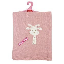 Complementos para muñecos Antonio Juan 40 - 52 cm - Toquilla de punto rosa con jirafa