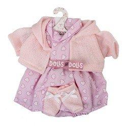 Ropa para Muñecas Llorens 33 cm - Conjunto estampado corazones con chaqueta y peúcos rosa