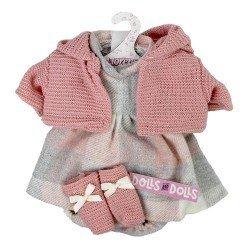 Ropa para Muñecas Llorens 33 cm - Conjunto estampado cuadros con chaqueta y peúcos rosa