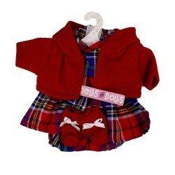 Ropa para Muñecas Llorens 33 cm - Conjunto estampado cuadros con chaqueta y peúcos rojos