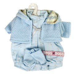 Ropa para Muñecas Llorens 33 cm - Conjunto azul estampado estrellas con chaqueta y peúcos