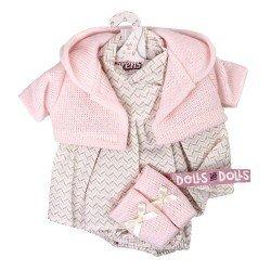 Ropa para Muñecas Llorens 33 cm - Conjunto estampado con chaqueta y peúcos rosa claro