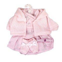Ropa para Muñecas Llorens 33 cm - Conjunto estampado rosa con chaqueta y peúcos rosa