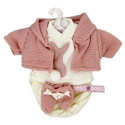 Ropa para Muñecas Llorens 33 cm - Conjunto estampado estrellas con chaqueta y peúcos rosa