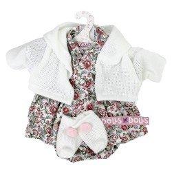 Ropa para Muñecas Llorens 33 cm - Conjunto estampado flores con chaqueta y peúcos blancos