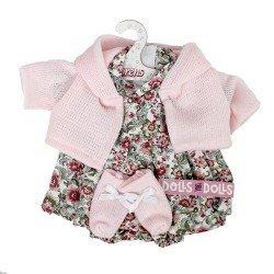 Ropa para Muñecas Llorens 33 cm - Conjunto estampado flores con chaqueta y peúcos rosa claro
